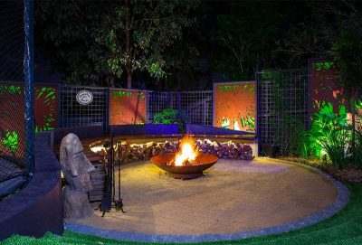 Secluded fire pit in an Ashgrove garden design Brisbane.